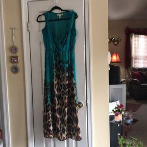 Blue maxi dress with leopard print